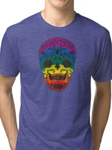 rainbow sugar skull Tri-blend T-Shirt
