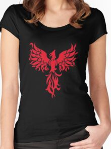 Abstract Red Phoenix Women's Fitted Scoop T-Shirt