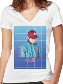 suho in blue Women's Fitted V-Neck T-Shirt