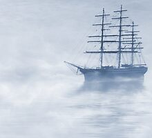 Morning Mists Cyanotype by John Edwards