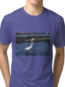 Great Egret,Urunga NSW Tri-blend T-Shirt