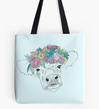 Watercolor Flower Cow Tote Bag