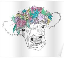 Watercolor Flower Cow Poster
