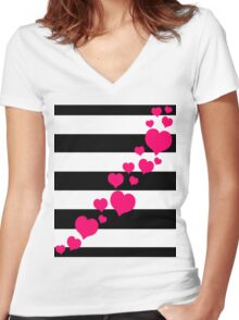 Pink Hearts Black Stripes Women's Fitted V-Neck T-Shirt