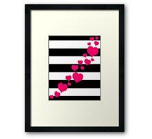 Pink Hearts Black Stripes Framed Print
