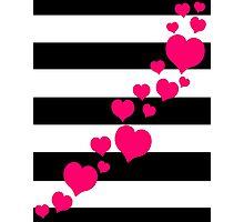 Pink Hearts Black Stripes Photographic Print