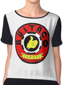 Vintage Bultaco Spanish Motorcycle Chiffon Top