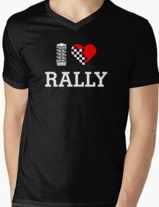 I Love RALLY (2) Mens V-Neck T-Shirt