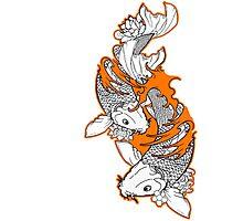 Koi Fish Design in orange Photographic Print