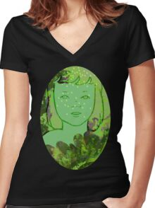 Green Sea Girl Women's Fitted V-Neck T-Shirt