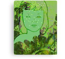 Green Sea Girl Canvas Print