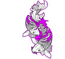 Koi Fish Design in purple Photographic Print
