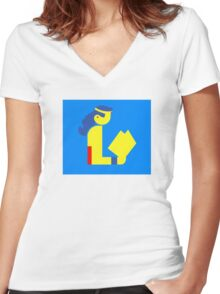 Wonder Lady Reads Women's Fitted V-Neck T-Shirt