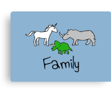 Family - Unicorn, Rhino, Triceratops Canvas Print
