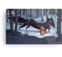 Little Red Riding Hood and the Wolf Metal Print