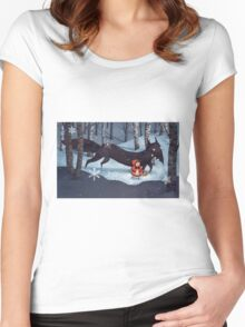 Little Red Riding Hood and the Wolf Women's Fitted Scoop T-Shirt