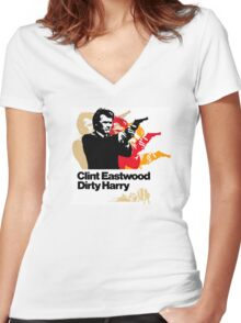 Dirty Harold Women's Fitted V-Neck T-Shirt