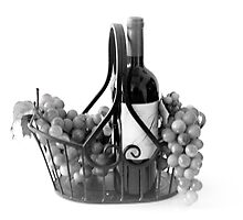 Basket of Wine and Grapes in Black and White by Sherry Hallemeier