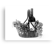Basket of Wine and Grapes in Black and White Canvas Print
