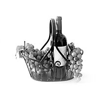 Basket of Wine and Grapes in Black and White Photographic Print