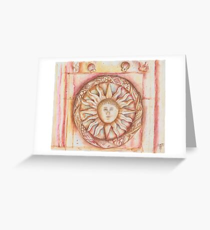 The Sun. stone symbols in the cloister. Jerónimos Monastery Greeting Card