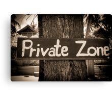 Private zone sign Canvas Print