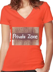 Private zone sign Women's Fitted V-Neck T-Shirt