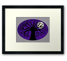 Tree Silhouette & Moon Framed Print