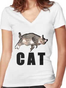C A T Women's Fitted V-Neck T-Shirt