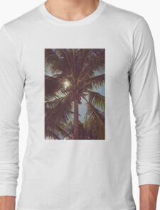 Palm tree with Retro summer filter effect Long Sleeve T-Shirt