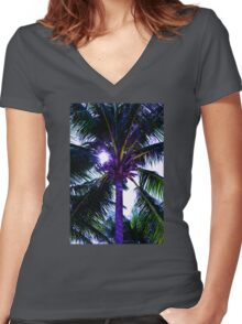 Palm tree with Retro summer filter effect Women's Fitted V-Neck T-Shirt