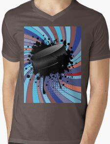 Hockey Puck on Background with Rays 2 Mens V-Neck T-Shirt