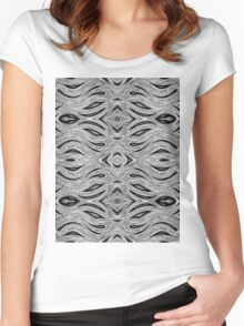Miniature Aussie Tangle 023 Pattern in Black and White Women's Fitted Scoop T-Shirt