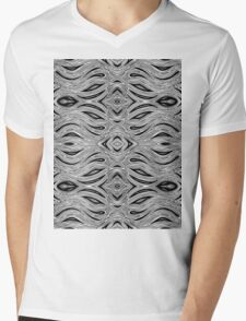 Miniature Aussie Tangle 023 Pattern in Black and White Mens V-Neck T-Shirt