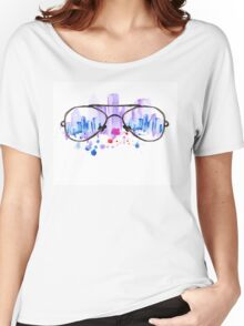 Watercolor vintage glasses New York with drops and splash Women's Relaxed Fit T-Shirt