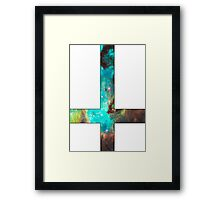 Green Galaxy Inverted Cross White Framed Print
