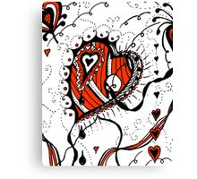 Miniature Aussie Tangle 05 in Red White and Black Canvas Print