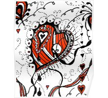 Miniature Aussie Tangle 05 in Red White and Black Poster