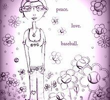 Purple Peace Love and Baseball - Whimsical Folk Art Girl by erica lubee  ~ SkyBlueWithDaisies