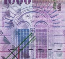 1000 Swiss Franc Bill Sticker
