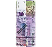 1000 Swiss Franc Bill Photographic Print