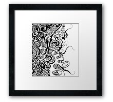Aussie Tangle 18 in Black with Transparent Background Framed Print