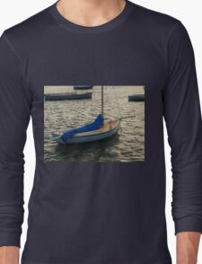 Blue Boat at Sunset Long Sleeve T-Shirt