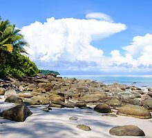 Beautiful tropical beach with white sand blue waters and colorful rocks by Stanciuc