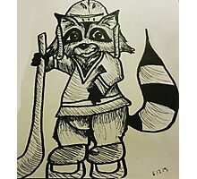 Racoon Ice Hockey Star Photographic Print