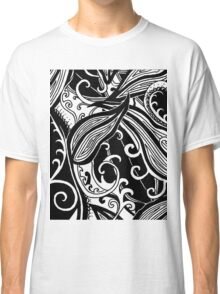 Forest Floor Aussie Tangle 019 in Black with Transparent Background Classic T-Shirt