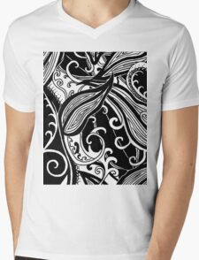 Forest Floor Aussie Tangle 019 in Black with Transparent Background Mens V-Neck T-Shirt