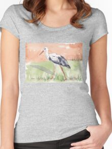 White Stork (Ciconia ciconia) Women's Fitted Scoop T-Shirt
