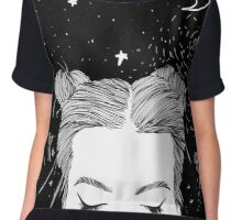 Tumblr Space Black and White Chiffon Top
