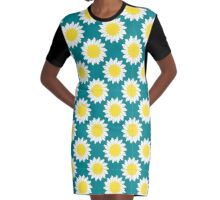 Camomile Pattern Graphic T-Shirt Dress